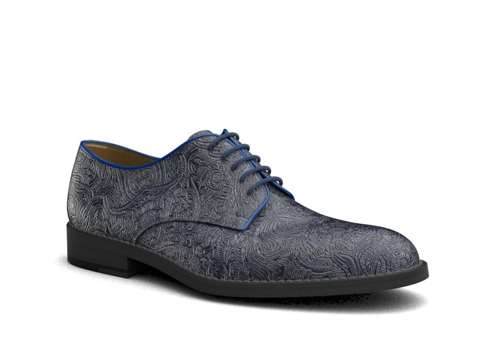 blue damask pattern leather men derby plain