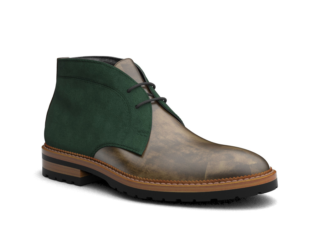 olive decò leather men desert boot