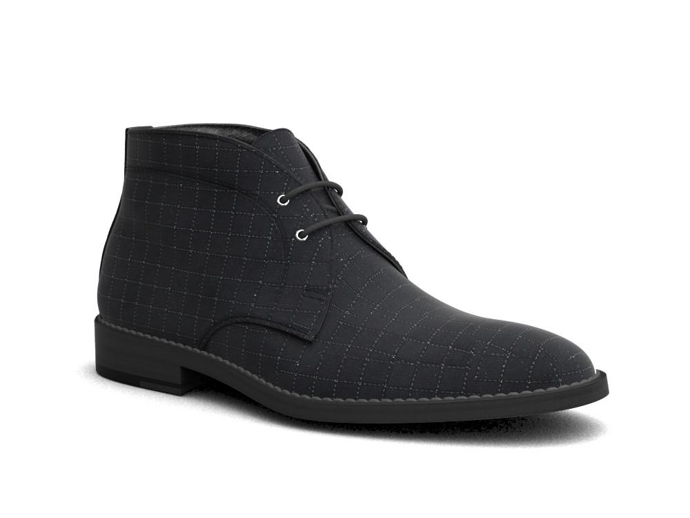 black pattern leather men desert boot