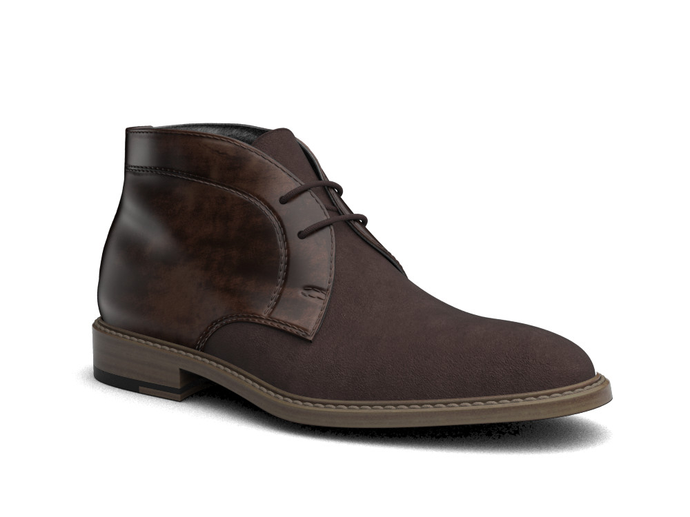 coffee suede polished leather men desert boot