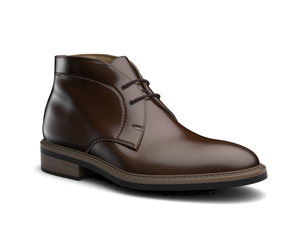 coffee polished leather men desert boot