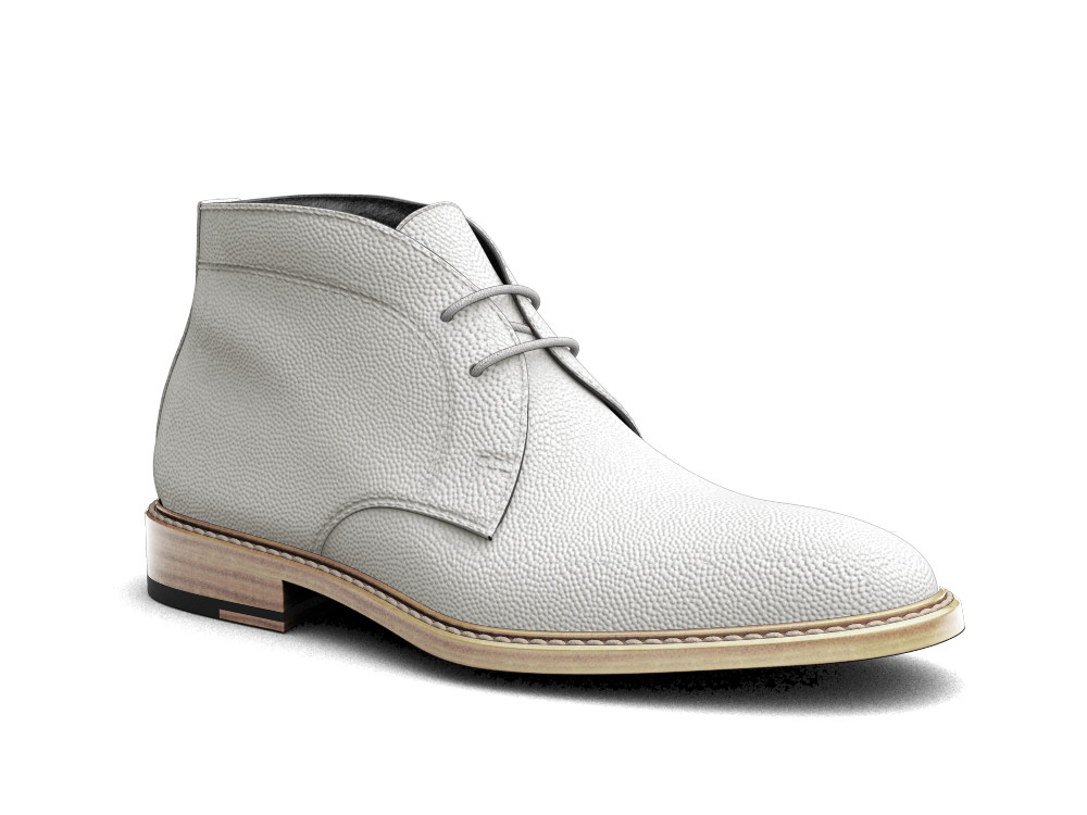 white pebble grain leather men desert boot