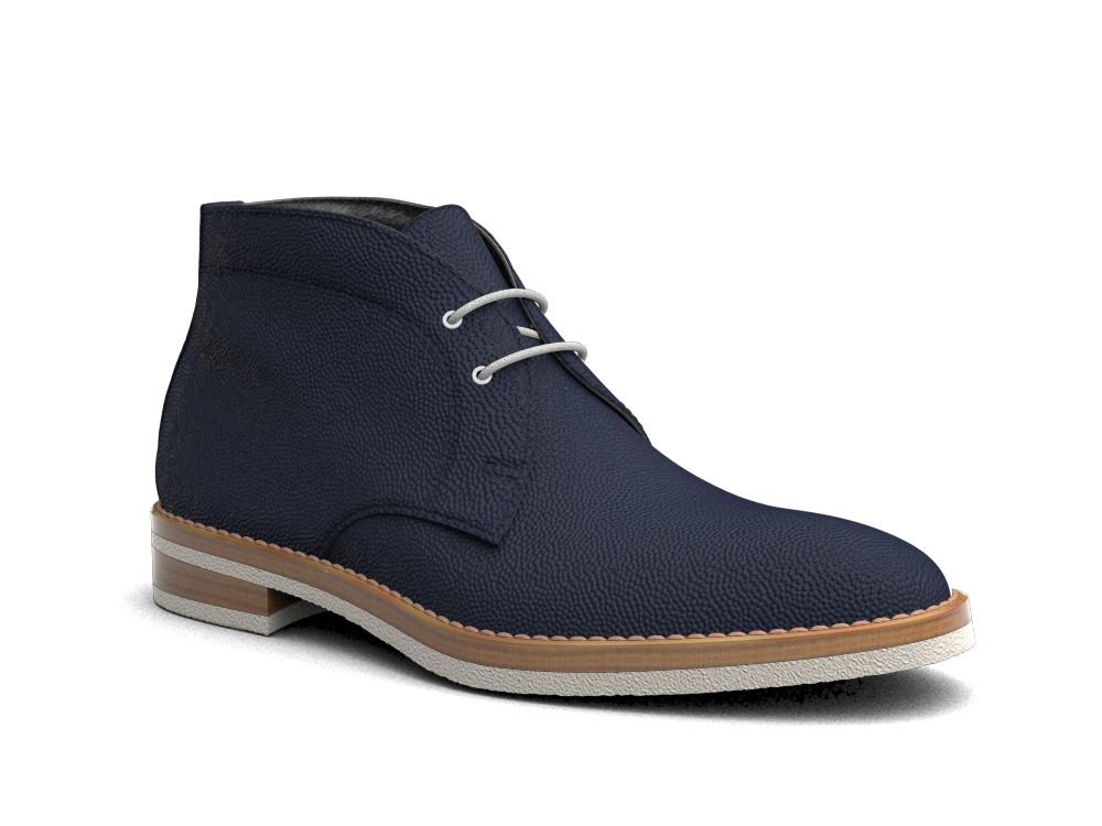 blue pebble grain leather men desert boot