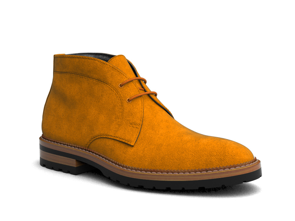 orange suede leather men desert boot