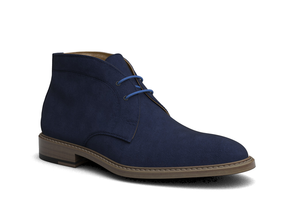 navy suede leather men desert boot