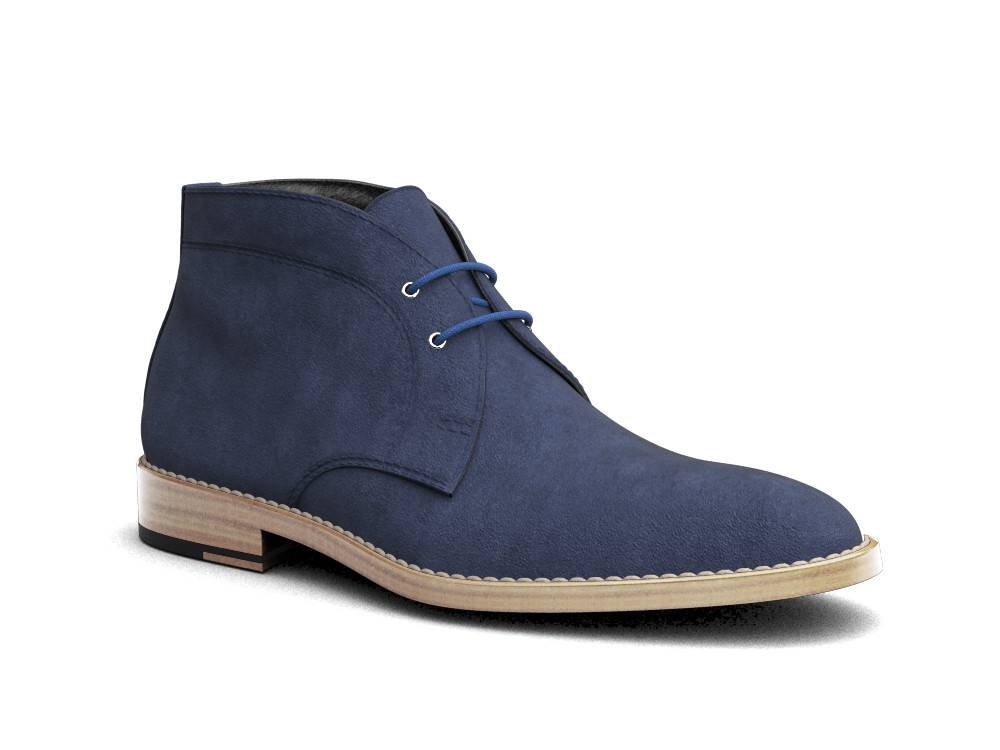 indigo suede leather men desert boot