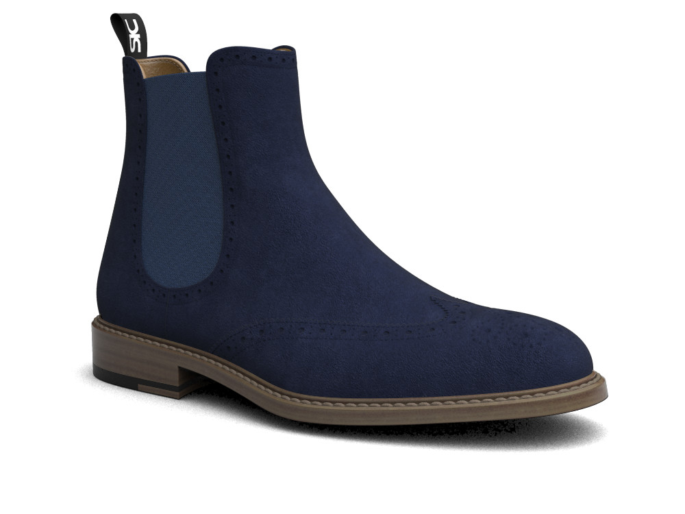 indigo suede leather men chelsea boot