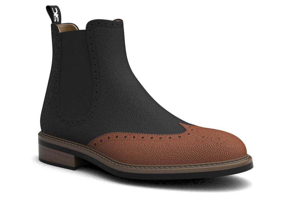 bicolored pebble grain leather men chelsea boot