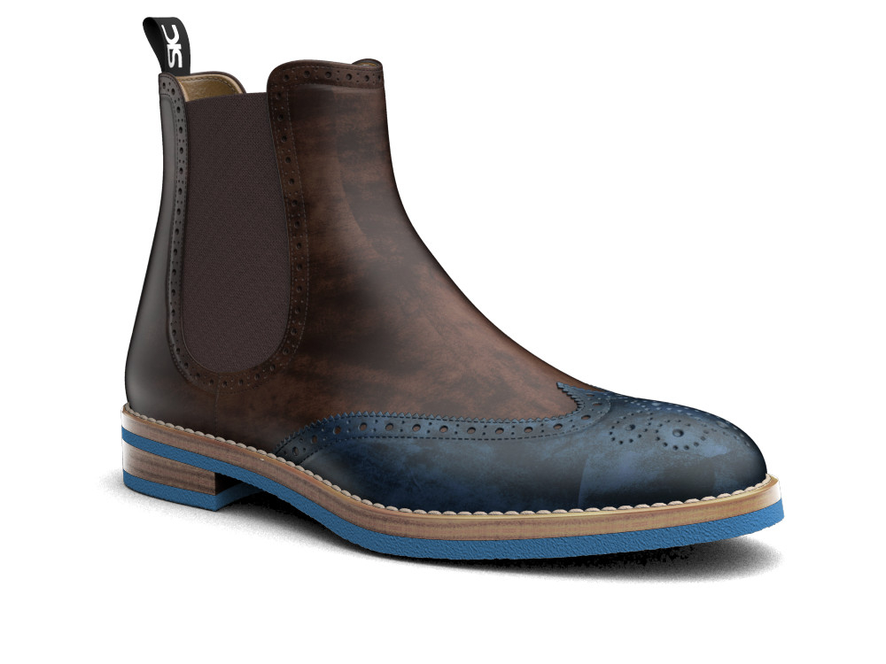 navy brown decò leather men chelsea boot