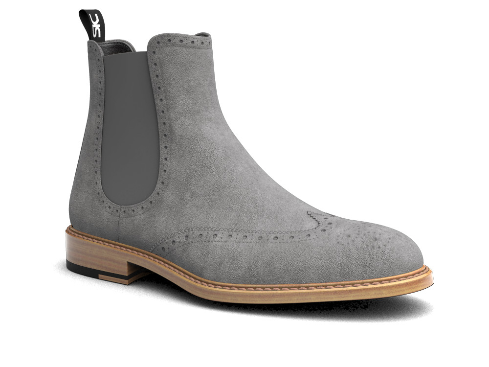 grey suede leather men chelsea boot