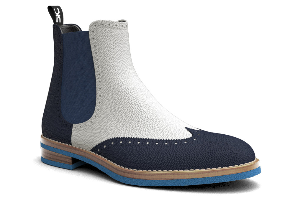 multicolor pebble grain leather men chelsea boot