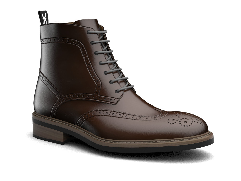 coffee polished leather men ankle wing brogue