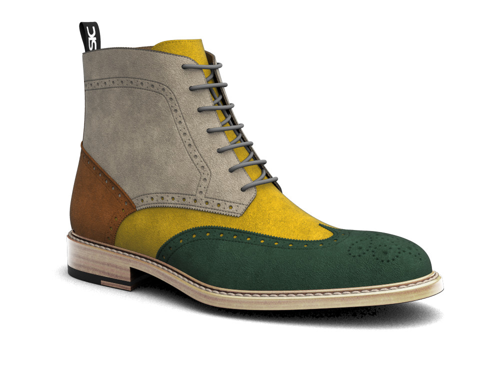 multicolor suede leather men ankle wing brogue