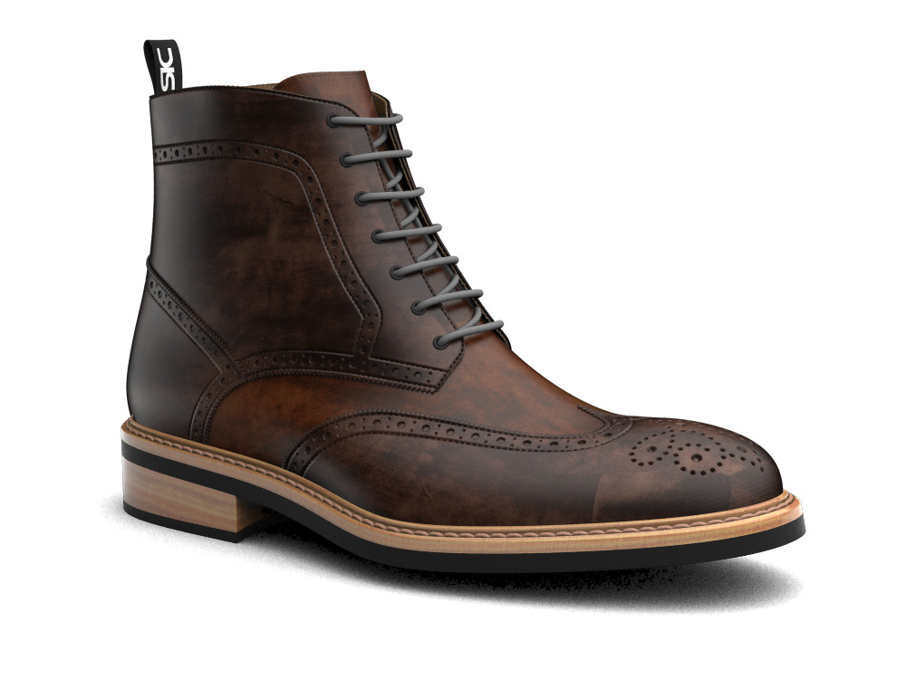 coffee decò leather men ankle wing brogue