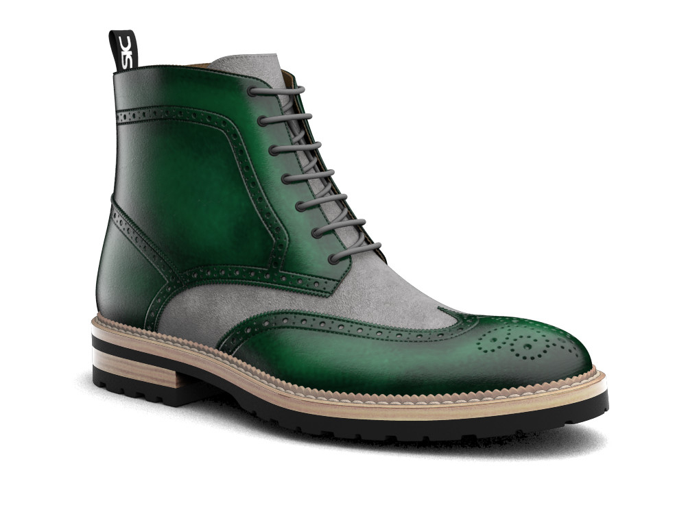 green polished leather men ankle wing brogue