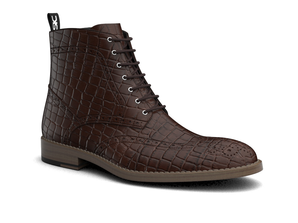 coffee crocodile printed leather men ankle wing brogue boots