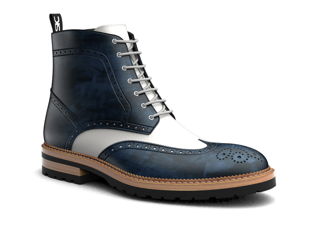blue deco white calf leather men ankle wing brogue boots