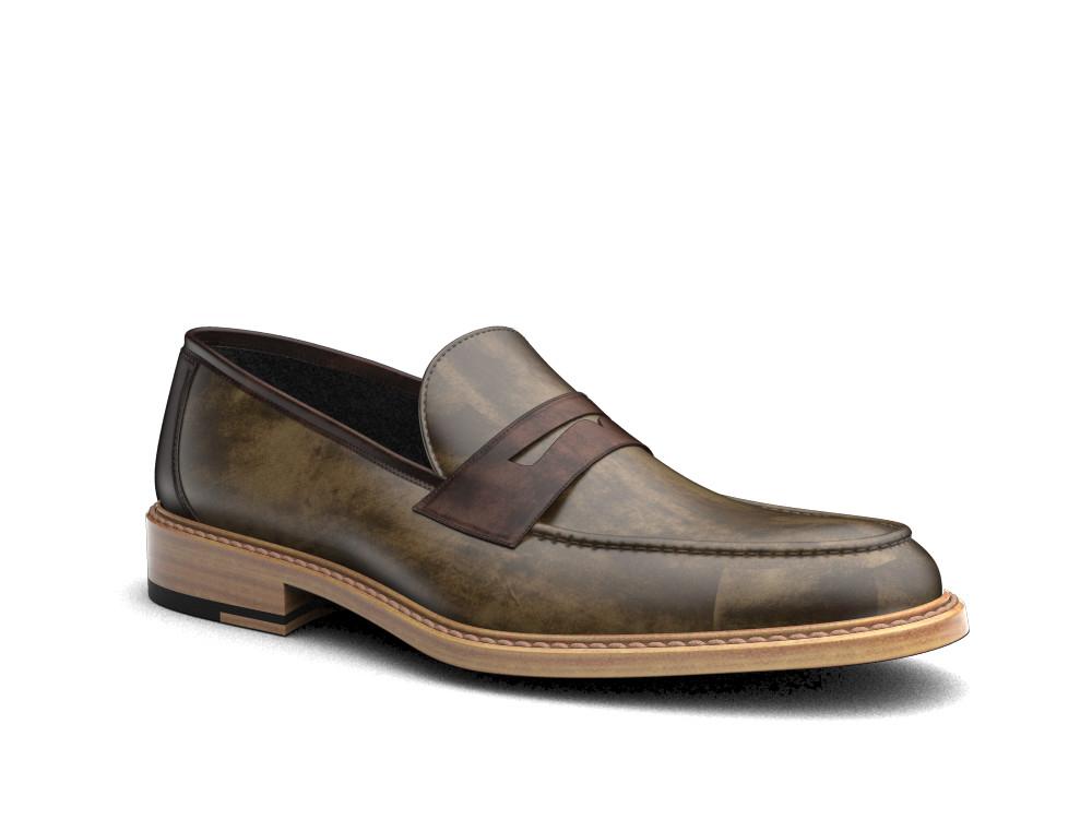 olive deco leather men loafer