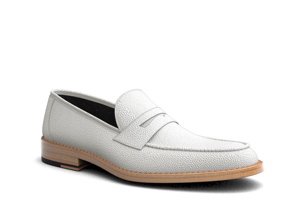 white pebble grain leather men loafer