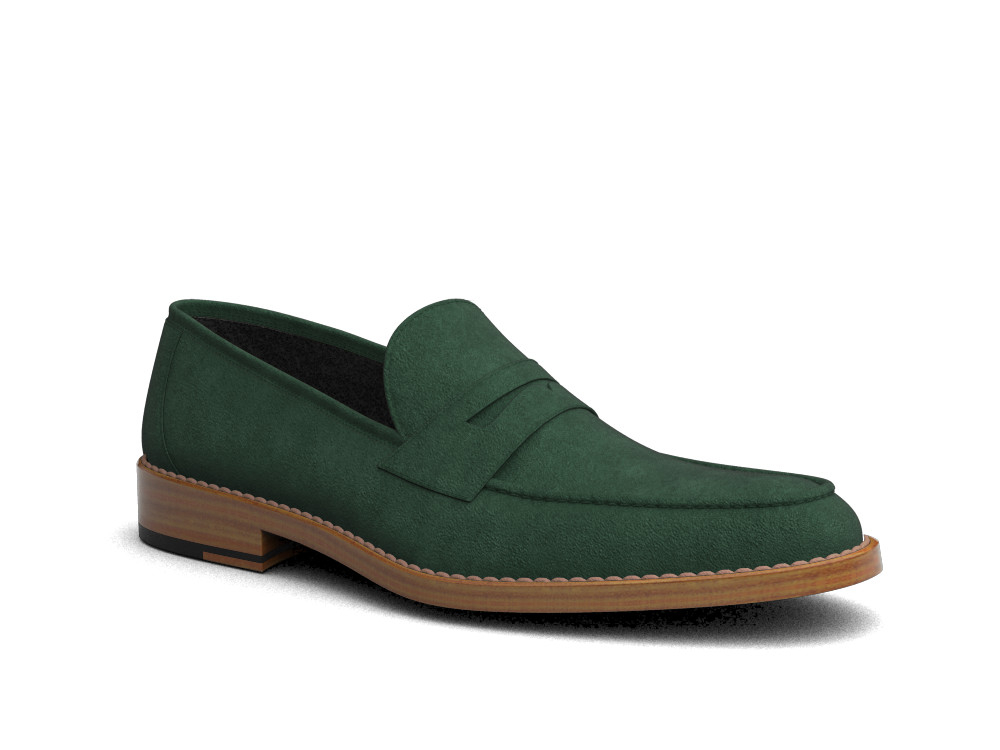 green suede leather men loafer