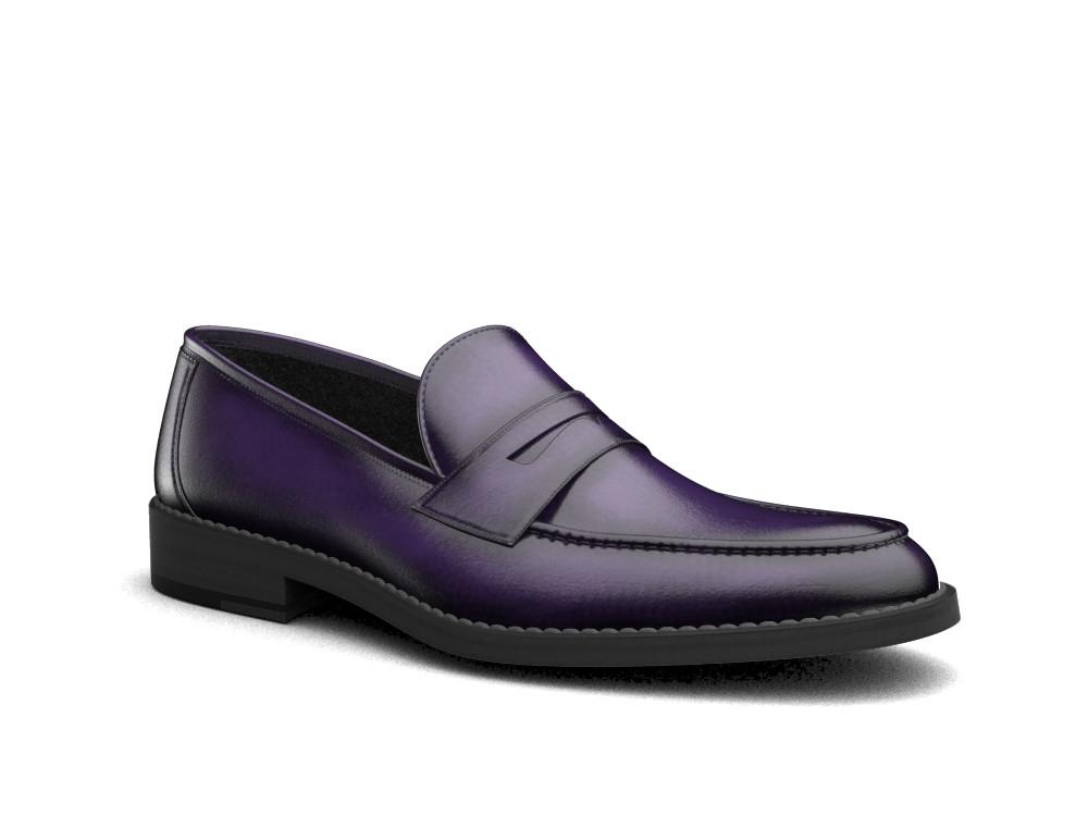 violet polished leather men mocassin