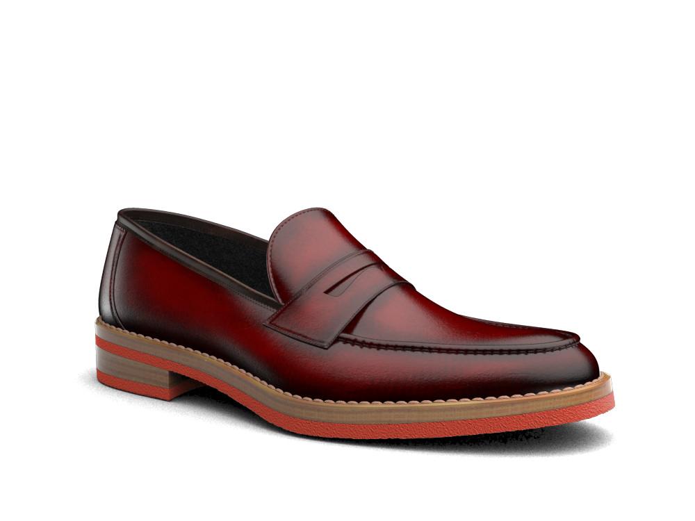 red polished leather men loafer