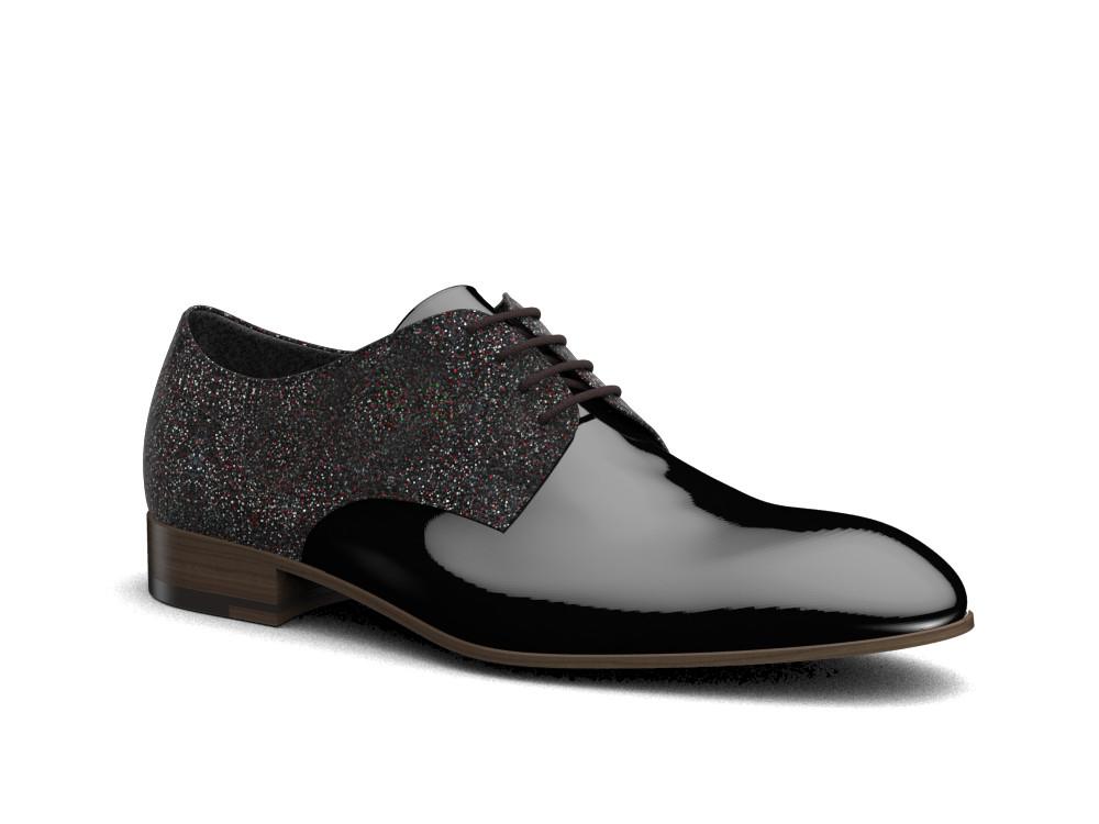 black stardust patent leather men derby shoes