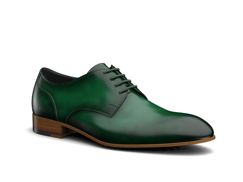 green polished leather men derby shoes