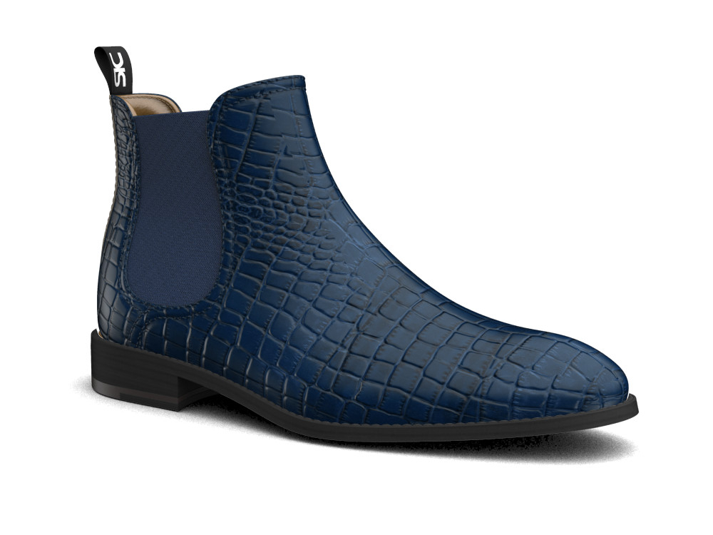 blue crocodile printed leather men chelsea boot