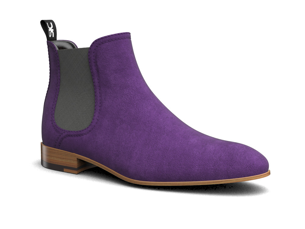 purple suede leather men chelsea boot