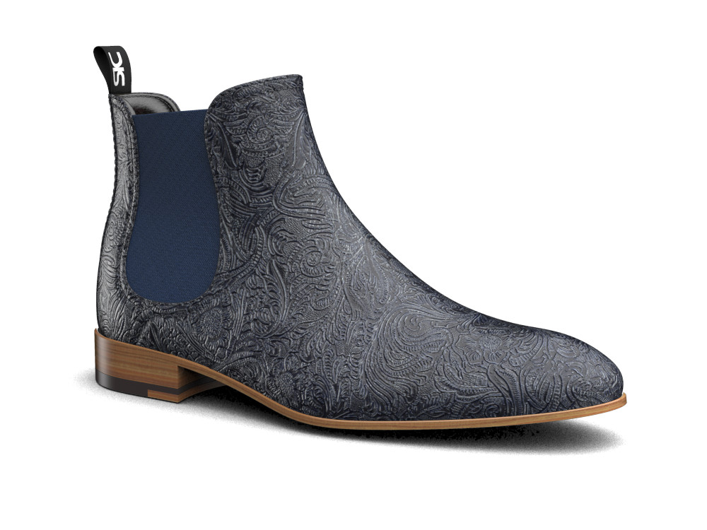 navy damask pattern leather men chelsea boot