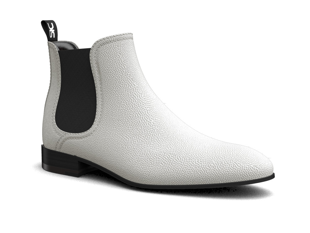 white pebble grain leather men chelsea boot