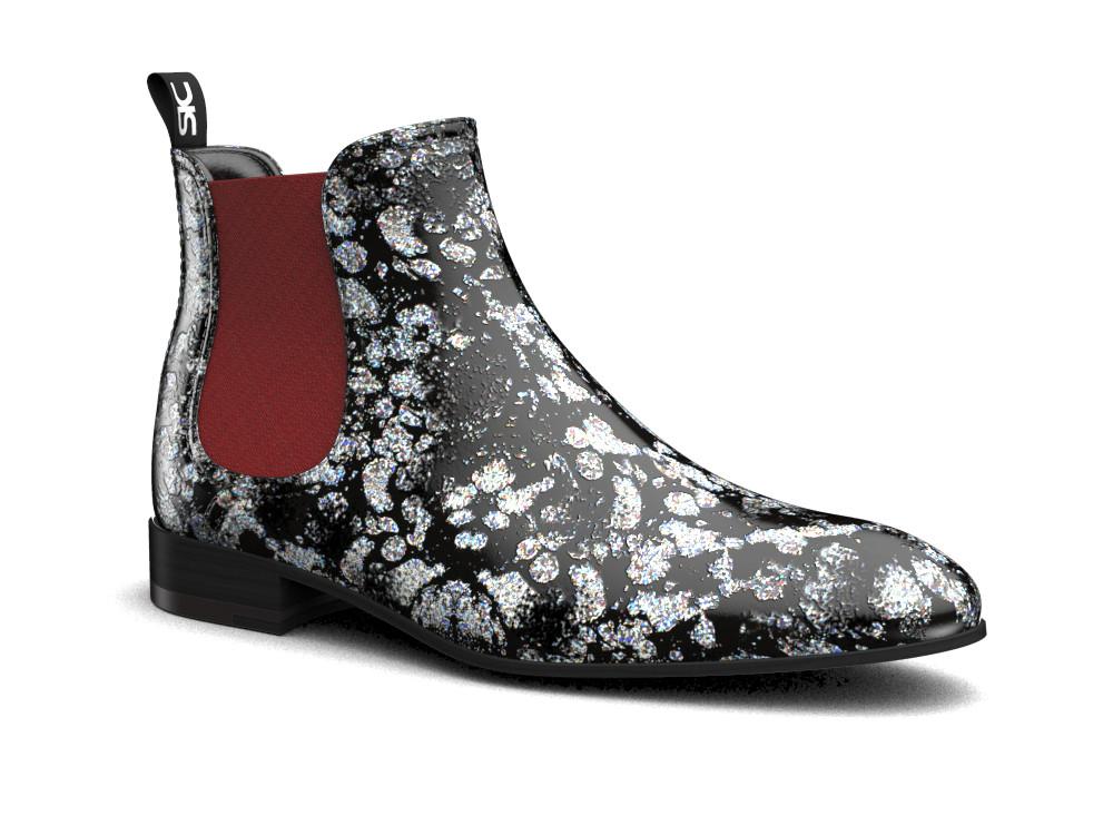 silver spray pattern leather men chelsea boot
