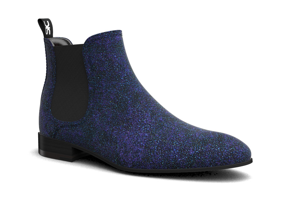 blue stardust pattern leather men chelsea boot