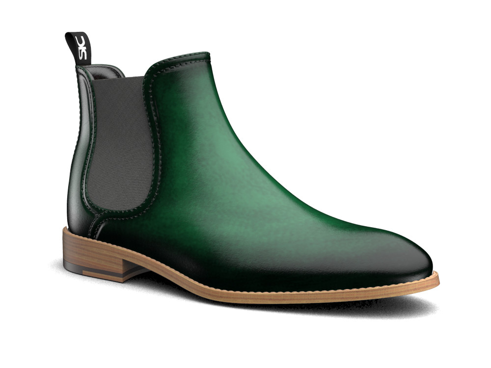 green polished leather chelsea boot