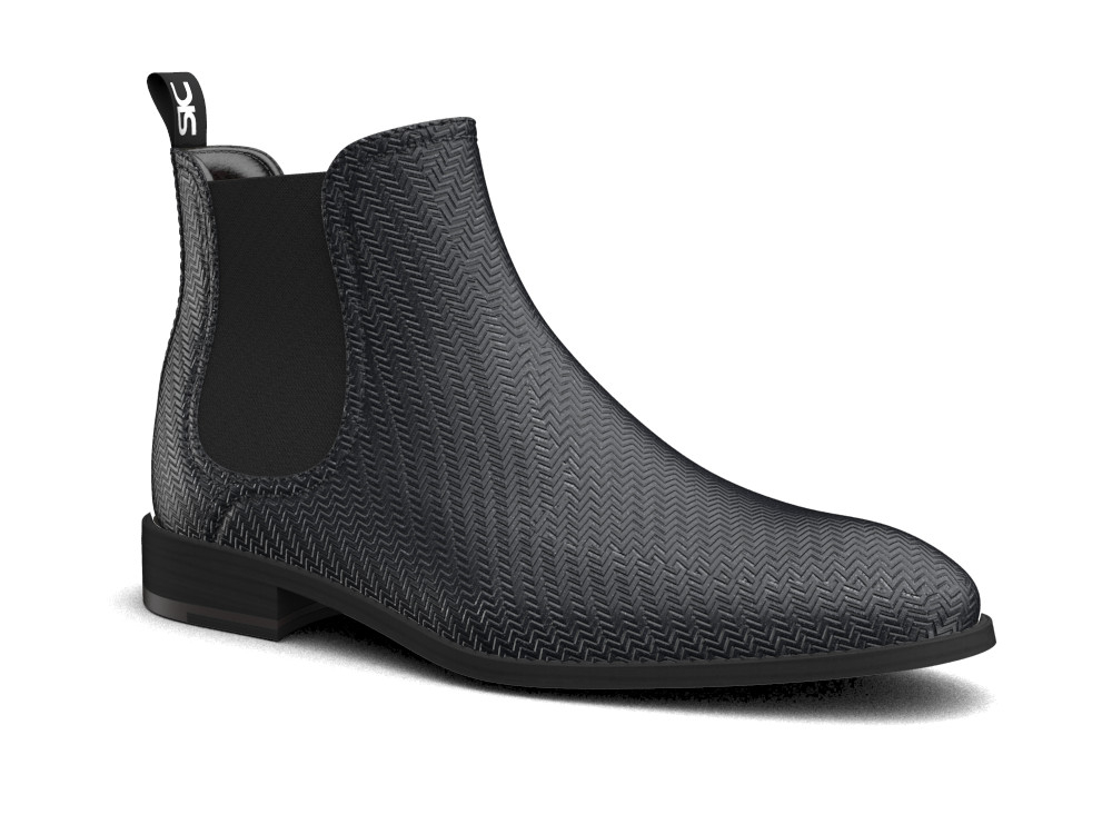 black victory pattern leather men chelsea boot