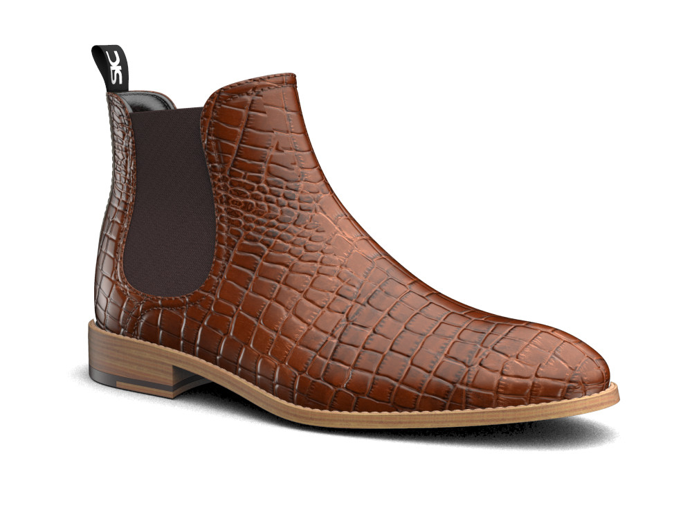 tan crocodile printed leather men chelsea boot