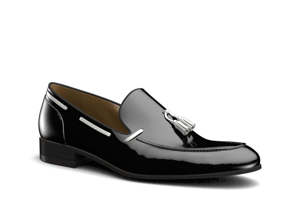 black patent leather men slip on