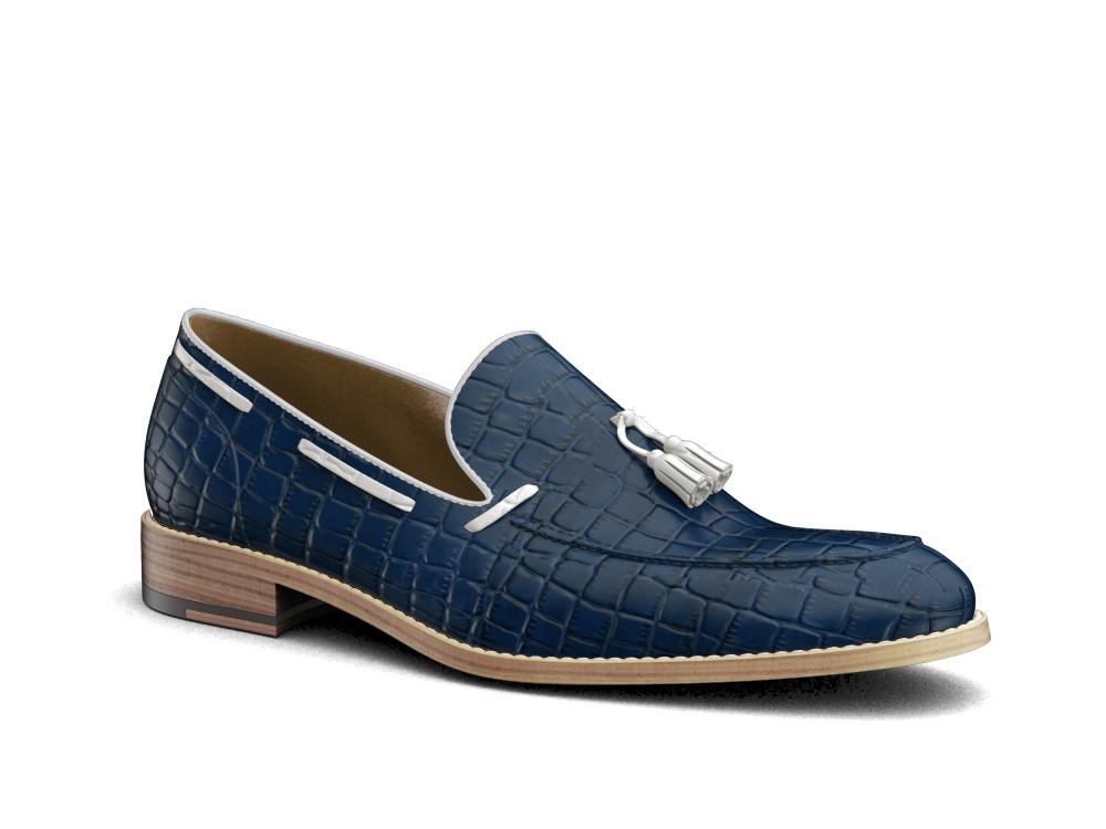 blue printed crocodile leather men tassel loafer