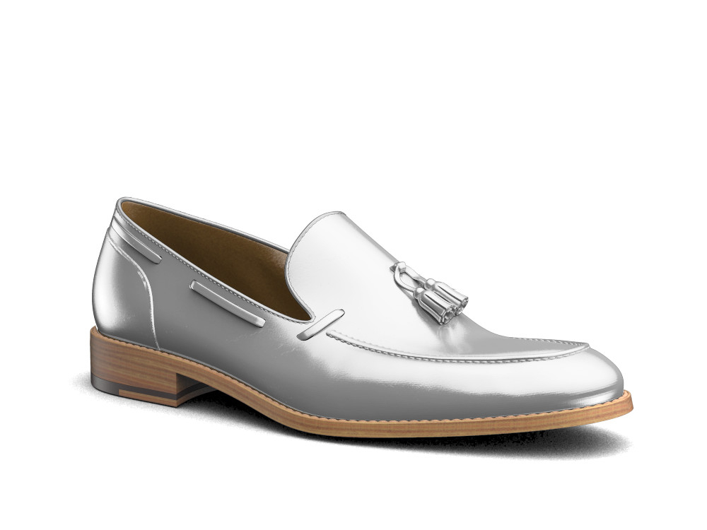 shiny silver leather men tassel loafer