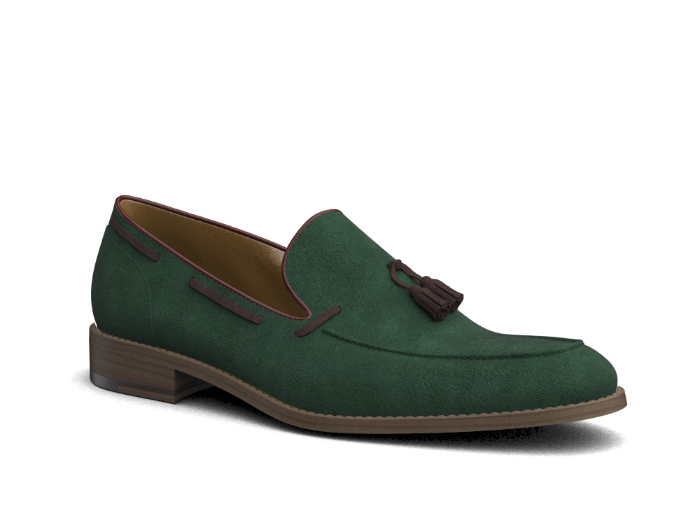 green suede leather men tassel loafer