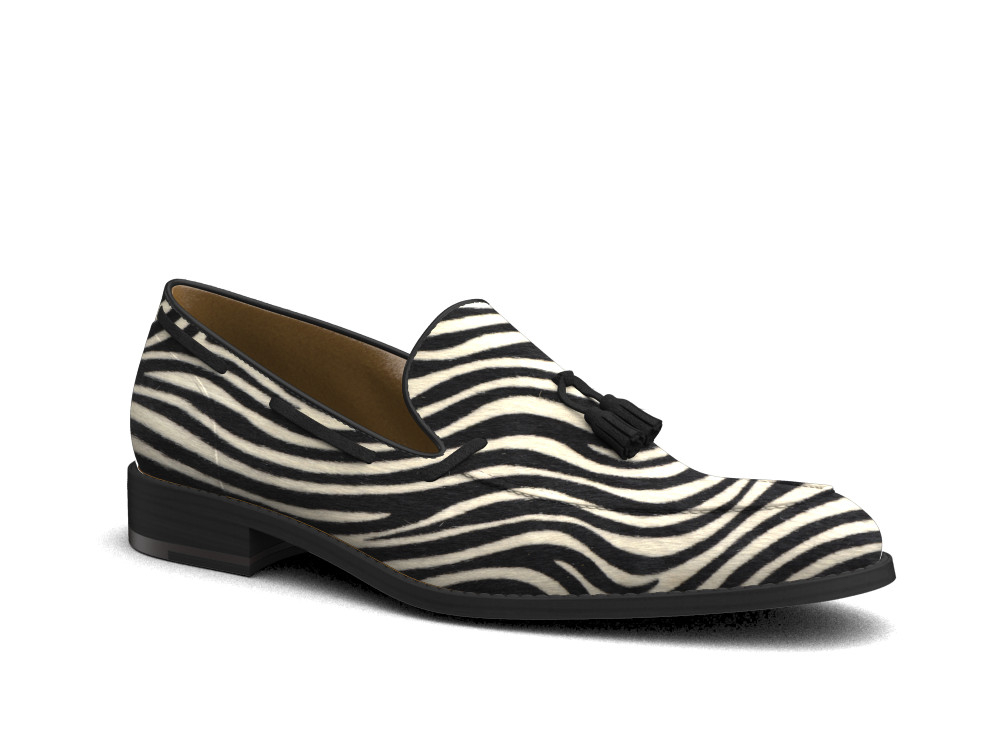 zebra printed leather men tassel loafer