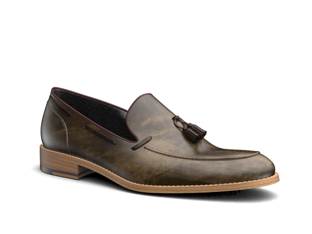 tassel loafer in deco olive leather hand made in italy
