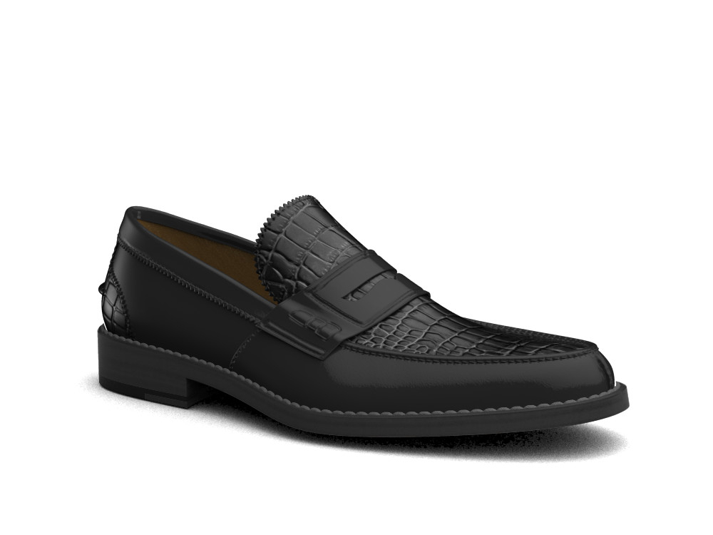 black printed crocodile shiny leather men college