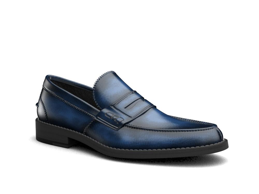 blue polished leather men college