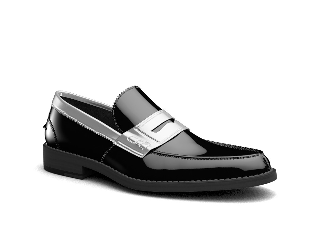 black silver patent leather men college