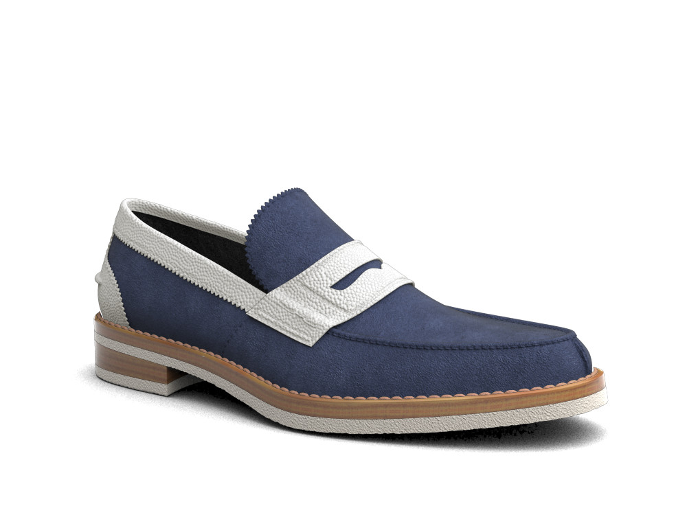 indigo white suede leather men college
