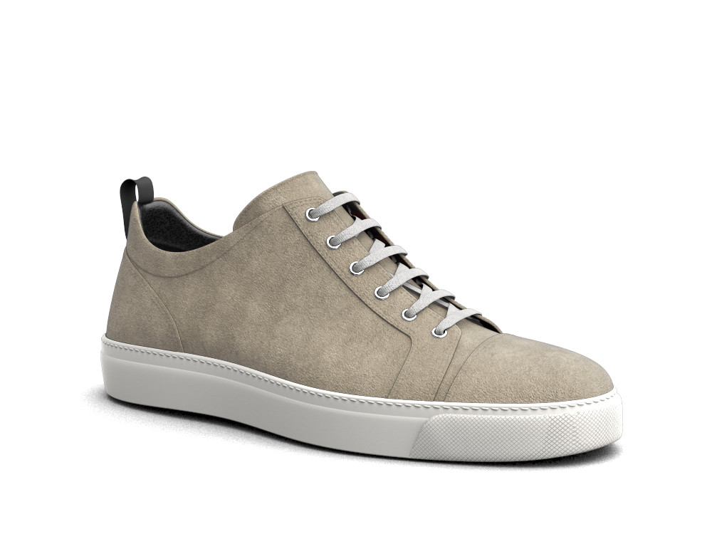 sneakers basse pelle scamosciata sabbia