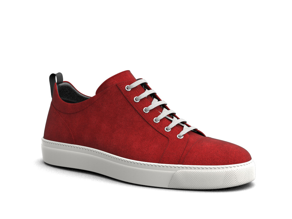 low top red suede sneakers