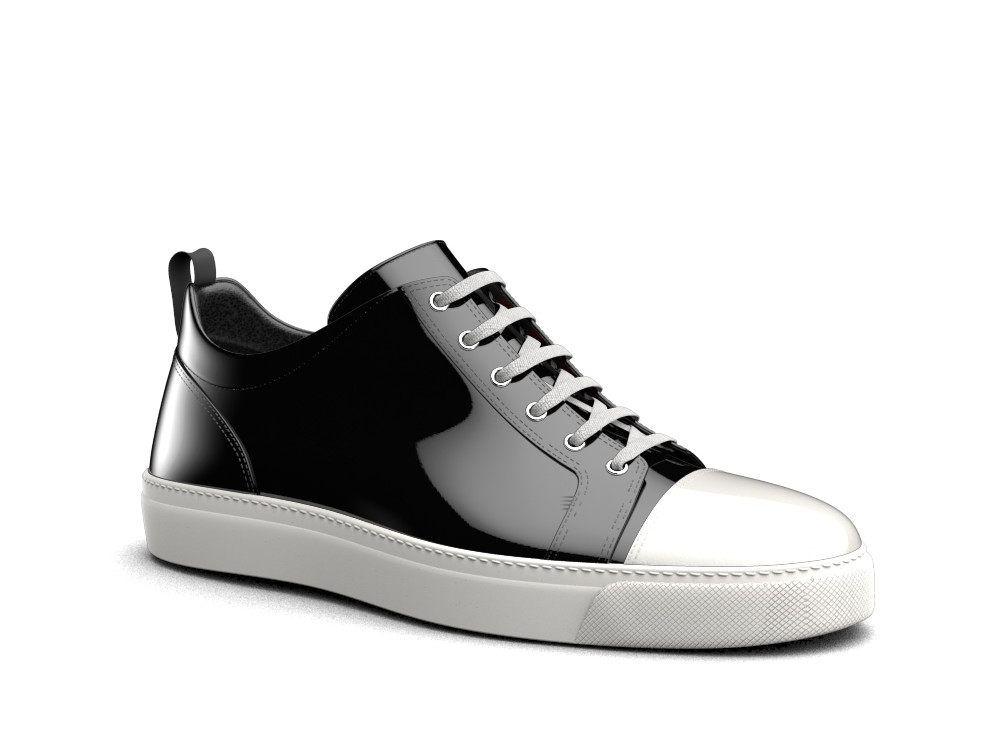 low top black white shiny sneakers